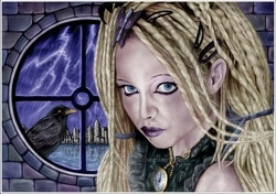 Realistic drawing by Dean Sidwell. Gothic/fantasy art. Stormbringer: Digitally enhanced and coloured version. A woman in front of a round window, there's a crow on the window ledge outside. In the background, across a stretch of water, there's a cityscape. There's lightning in the night sky.
