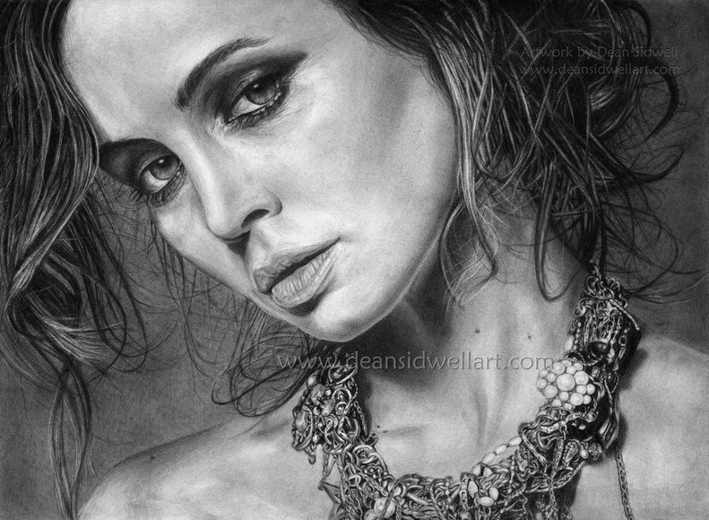 Eliza Dushku pencil drawing, very high detail and realism. Artwork by Dean Sidwell